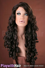 Romantic Tousled Ringlets Wig - COLOUR CHOICES! Black Brown Auburn Burgundy Red