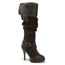 Sexy Brown Carribean Pirate Buckles Cuffed Knee Halloween Costume Boots
