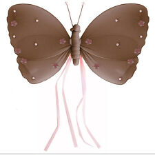 BUTTERFLY DECORATION Brown Pink Ribbons Nursery Bedroom Baby Room Girls Walls