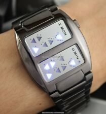 Binary Blue LED Digital Sport Wrist Watch Mens Women