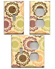 Distressed Brown Green Plum Gold Dots Floral Applique/Doile Switchplates/Outlets