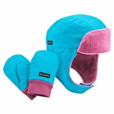 NEW Columbia Earflap Bomber Hat & Mittens Set Infant Toddler Girls Pink & Blue