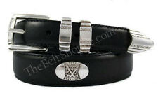 Danbury Men's Black Leather Golf Belt with Conchos - Sizes 34 - 44 (New w/Tags)
