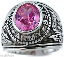 Pink Rose Stone Army US Military Rhodium EP Mens Ring