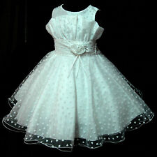 W8811 NWT White Thanksgiving Flower Girls Pageant Dresses SZ 2-3-4-5-6-7-8-9-10Y
