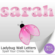Wall Letter Alphabet Initial Sticker Vinyl Stickers Decals Name Pink Ladybug