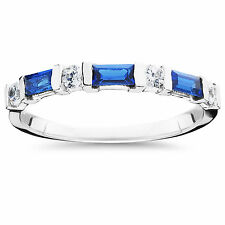 Ladies .71CT Blue Sapphire & Diamond Ring 14K White Gold Wedding Stackable Band