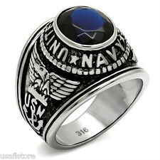 Blue Sapphire US Navy Military Silver Stainless Steel Mens Ring