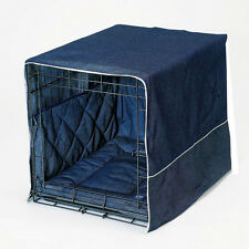 "Pet Dreams Denim 24"" Dog Pet Puppy Wire Crate Cage Training Cover Bed Bumper Pad"