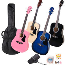 "41"" or 38"" Dreadnought Acoustic Guitar Package ~Black Blue Natural Wood Pink"