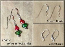 Sterling Silver Leverback or French Hook Crystal Earrings Christmas & Holidays