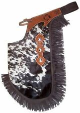 GENUINE HAIR ON FANCY WESTERN LEATHER CHINKS HORSE SADDLE CHAPS ROPING OR RODEO