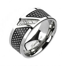 Modern Titanium Men's Grooved Black Stripe Multi-CZ Band Ring Size 9-14