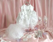 DOG WEDDING DRESS - WHITE SATIN BRIDE SET W/ VEIL & LEASH SIZES XXS or XS