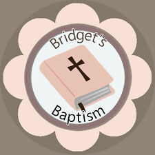 ✿ Edible Rice Paper Cup Cake Topping Bible Pink Baptism Personalised ✿