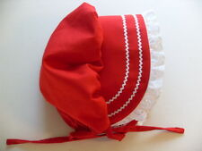 Baby Toddler Sunhat Bonnet SOLID RED cotton wlace trim hat sz nb,3,6,9,12,18 mo
