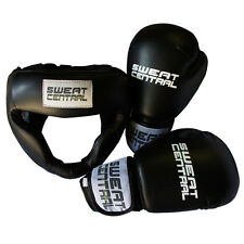BOXING GLOVES & HEAD GUARD SET PROTECTIVE KICKBOXING MMA SPARRING PUNCHING BAG