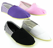 Womens Ella Canvas Espadrilles Slip On Gusset Plimsolls Trainers Pumps Size 3-8