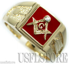 Mens Square Red Masonic Mason 18kt Gold Plated Ring