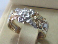Rose Design Yellow & White 14k Gold 4 Band Turkish Puzzle Ring - All Ship Free