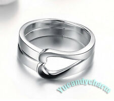 Made in Korea Matching Heart LOVE Couple Lovers Rings SET WHITE GOLD PLATED NEW!