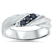 1/5CT Blue Diamond Mens Three Stone Wedding Anniversary Ring 14K White Gold Band