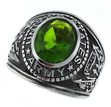 Green Peridot US Army Military Silver Stainless Steel Mens Ring