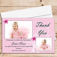 Personalised Thank you PHOTO Cards N175 ~ For Christenings, Baptism, Births etc
