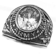 Mens Clear CZ US Army Military Stainless Steel Ring