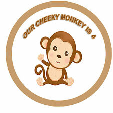 ✿ 24 Edible Rice Paper Cup Cake Topping Personaised cheeky monkey✿