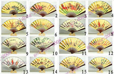 Chinese Vintage Folding Hand Fan Painting Golden yellow/Dragons Beauty Scenery