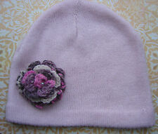 Ladies Beanie/ Cloche Hat with Pretty Wool Corsage: Pink/  White/  Lilac / Black