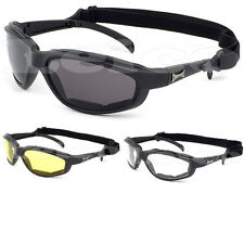 Choppers Motorcycle Riding Goggles Padded Sports Sunglasses Black Yellow Clear