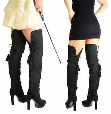 $2,495 DOMINATRIX YVES SAINT LAURENT BOOTS OVER THE KNEE PASSY 90 SUEDE LEATHER