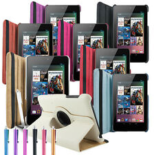 Leather 360 Degree Rotating Cover Case Stand - Asus Google Nexus 7 Sleep Wake