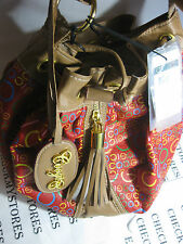 "NWT  COOGI "" PREMIUM DESIGNER DRAWSTRING HANDBAG RED-MULTI COLOR"