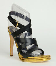 $895 YVES SAINT LAURENT SHOES 'MONTAIG 105' PLATFORM BLACK SANDALS STRAPPY 40 10