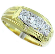 3 Simulated Diamond Two Tone 18kt Gold EP Mens Ring