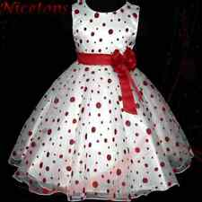 R3117 Red Girl Spots Christmas Party Flowers Girls Boutique Dress SZ 2T,4T,6T,8T