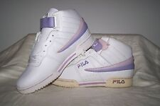 Girl's NEW Fila F-13 White Leather Athletic Shoes with Purple Trim