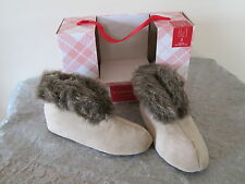 NEW $28 CHARTER CLUB FAUX FUR IN/OUTDOOR SLIPPERS BOOTIES LATTE SM & X-LG