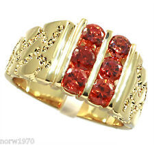 Six Light Ruby Red Round Stones 18kt Gold EP Mens Ring