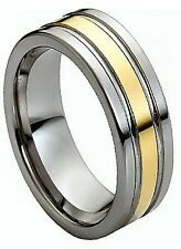 8mm Tungsten Men Women Wedding Band Ring Double Grooved Gold Plated Center New