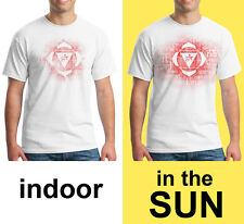 Root Chakra yoga t-shirt, photochromic color changing design, SCREEN PRINTED.