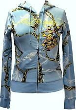 NEW Ed Hardy Women's Hoodie - Blue - DEATH OR GLORY - rope and noose background