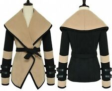 New Womens Punk Turn-down Collar Large Lapel Belted Jacket Coat Outerwear 8-16