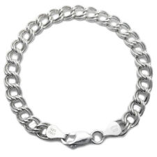 "Sterling Silver Double Link Charm Bracelet 8mm 100 gauge 7"" 8"" 9"""