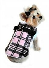 DOG COAT - PINK PLAID FLEECE LINED WRAP UP, STEP IN, VEST STYLE - SIZE XL