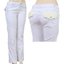 New Womens Jeans Straight Leg White Rhinestones Fur Plus Size 13 15 17 19 21 23