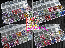 3000pcs Rhinestones Nail Art Case Assorted Designs for Acrylic Tips UV Gel Deco